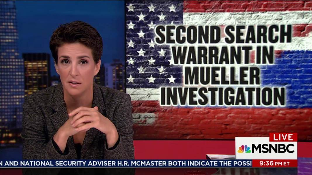 Maddow: Mueller reportedly uses search warrant to get more on Russia from Facebook: https://t.co/eN1bOOOVjI https://t.co/ppyXYTSKIR