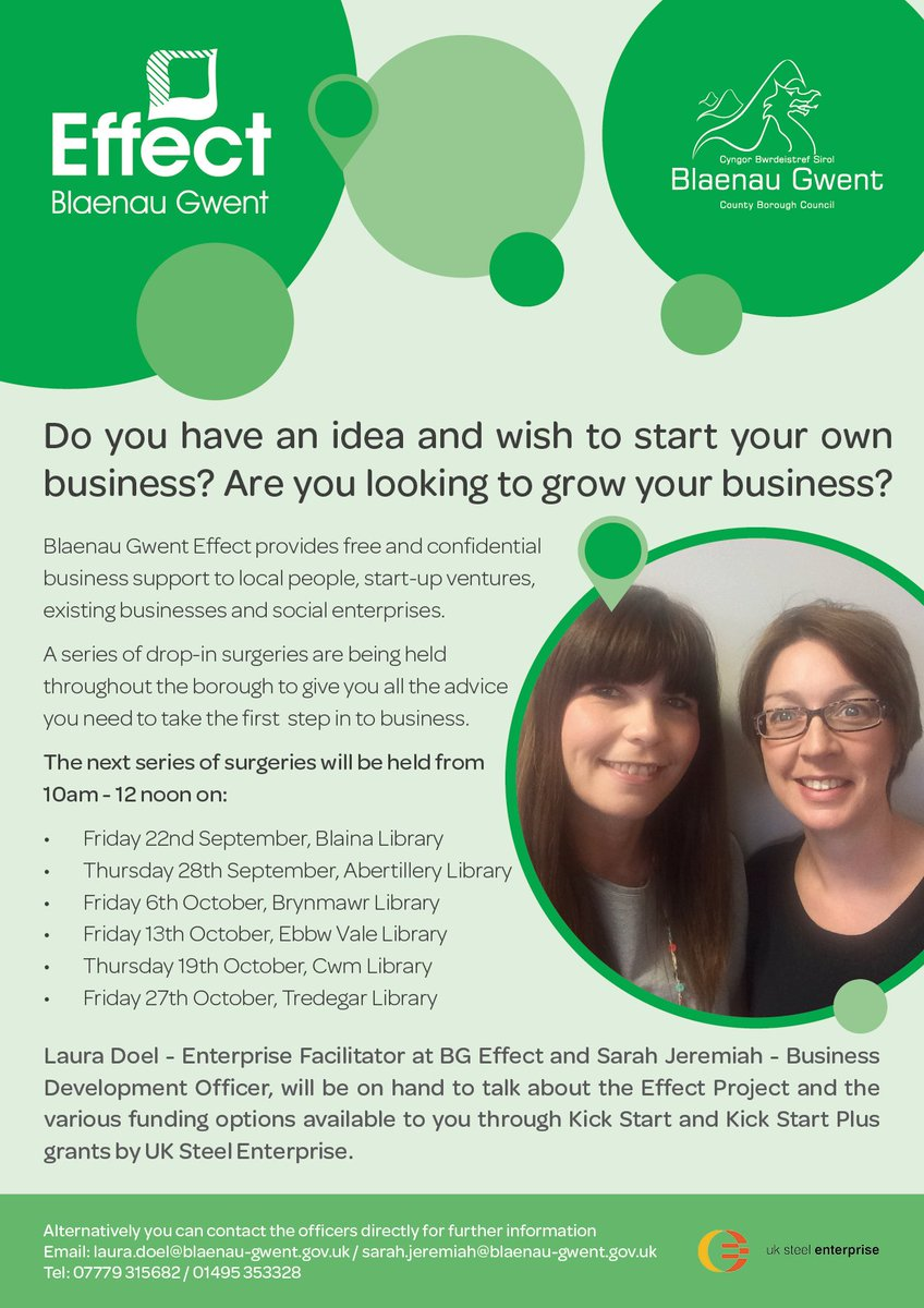 I&#39;m holding drop-in surgeries at #blaenaugwent libraries with Sarah Jeremiah #startups #grants @bgeffect @Aneurinleisure @BlaenauGwentCBC<br>http://pic.twitter.com/ZaFfx0lz4i