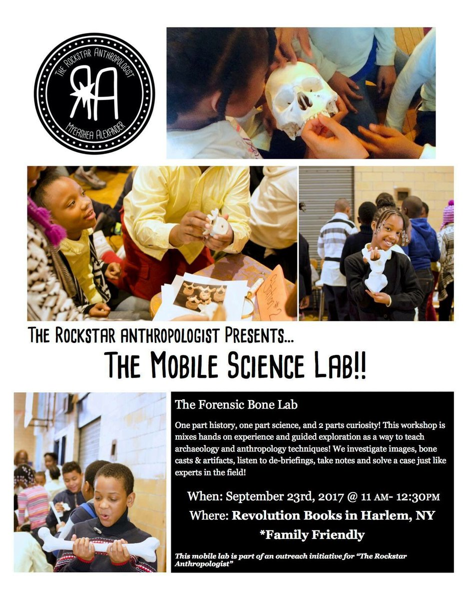 Hey #NewYorkCity! Join me for a #Bone lab at #RevolutionBooks in #Harlem this Saturday! #anthropology #scicomm #blackandSTEM <br>http://pic.twitter.com/YOTO40XvcE