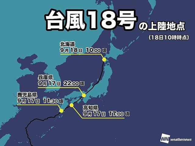 5000RT:【影響大】台風18号、本土4島全てに上陸した史上初の台風に https://t.co/jjbpFeNRO2  17日に鹿児島県に上陸、その後高知県へ再上陸。進路をやや北に向け、兵庫県に再々上陸し、18日昼、北海道へ再…