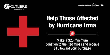 Donate $25 to #redcross #IrmaRecovery &amp; receive $15 towards your purchase, thru 9/20 #OutCoCares #CharacterDay2017  http:// rdcrss.org/2h32U5s  &nbsp;  <br>http://pic.twitter.com/4Z57Hit2WX