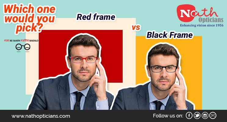 Which one would you pick? Red funky Frame vs Black classy Frame Visit:  http:// Nathopticians.com  &nbsp;    #Ecommerce #Digital #Eyewear #Brand #lens <br>http://pic.twitter.com/PiGdNzUQpL
