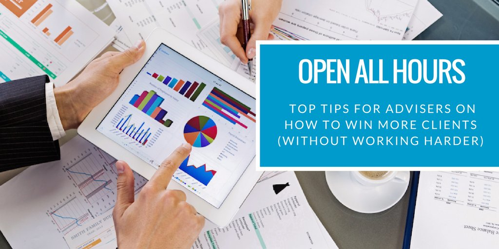 Open all hours: our top tips for #advisers on how to win more clients - without working harder!  https:// buff.ly/2jmoGWi  &nbsp;  <br>http://pic.twitter.com/roiI9qB3LJ
