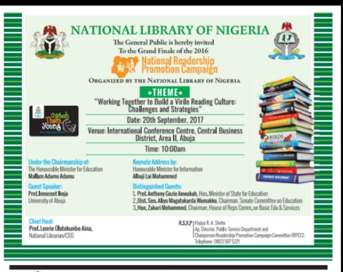 Invitation for an invaluable Campaign. The National Library of Nigeria&#39;s 2017 #Readership Promotion Campaign. #CatchThemYoung #Reading<br>http://pic.twitter.com/FmD4qQGX7g