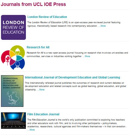 Our @IOE_London based #OA journals are free to write for &amp; #free to read. Browse here! #ECRchat #publicengagement  https://www. ucl-ioe-press.com/journals/page/  &nbsp;  <br>http://pic.twitter.com/o1Mc5t5iof
