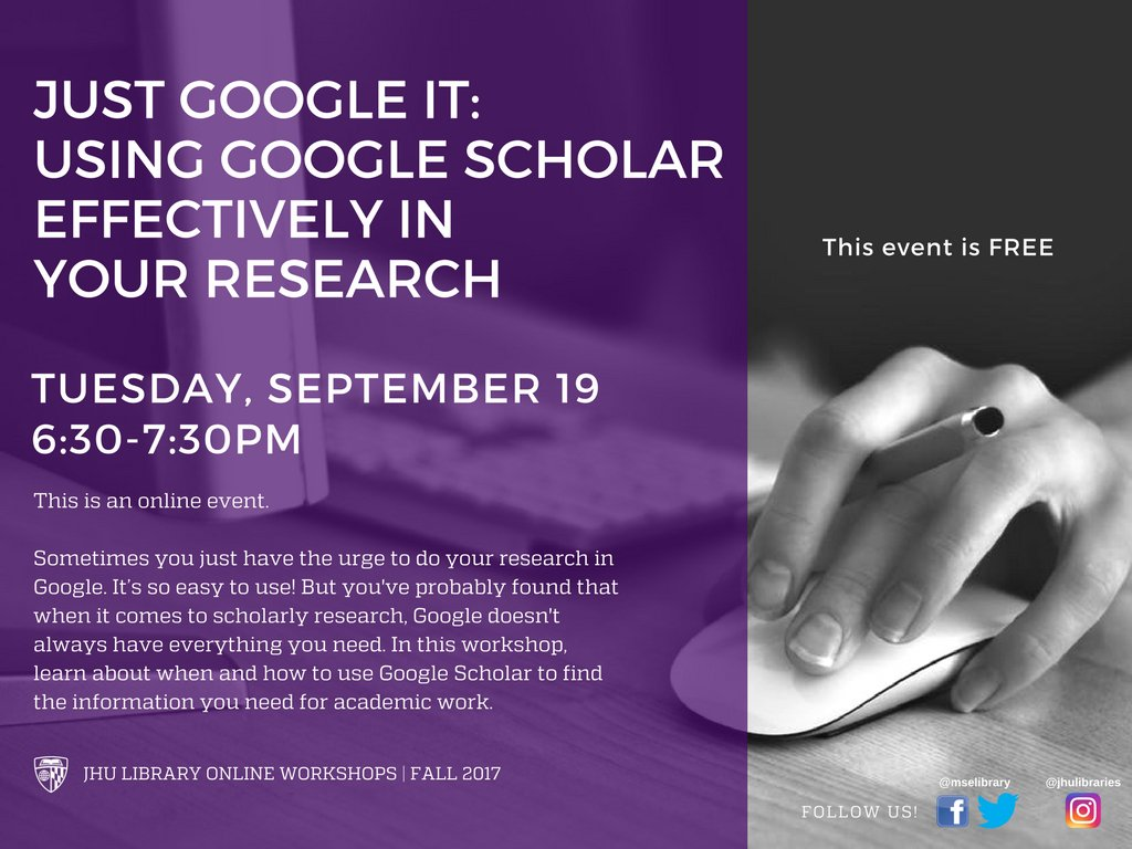 Today&#39;s free, online workshop teaches you how to use #GoogleScholar. Registration is STILL OPEN!  http:// bit.ly/2ykOZQm  &nbsp;   #JHU #GoHop<br>http://pic.twitter.com/yyxH4tlmlb