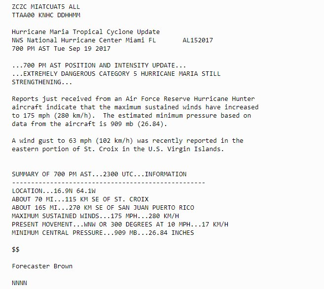 @GadiNBC JUST IN: Air Force Reserve hurricane hunter aircraft indicates #HurricaneMaria 's maximum sustained winds increased to 175 mph https://
