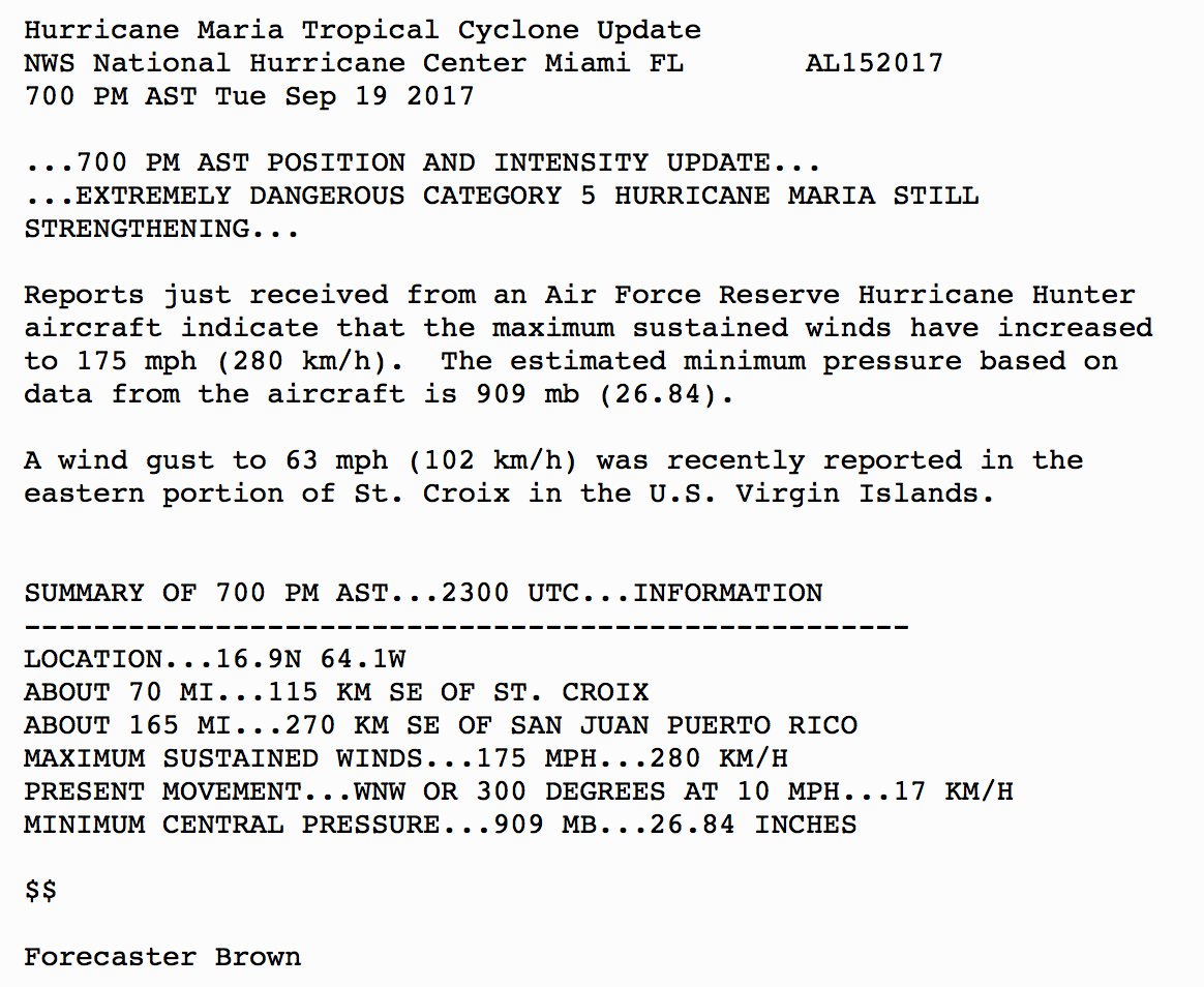 LATEST: Hurrican #Mariae   'still strengthening ' as it approaches U.S. Virgin Islands and Puerto Rico as a Cat 5 stohttps://t.co/B6e0r8imaxrm