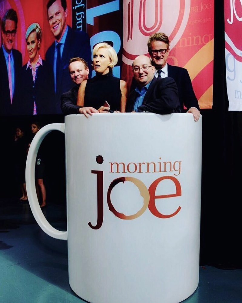 Celebrating 10 years with two guys who were there from the start. Thanks Chris and TJ! #morningjoe https://t.co/ONPxJbCN9U