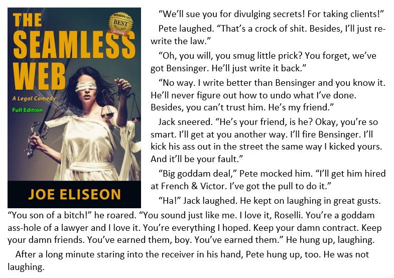 At last, Pete's a #lawyer! THE SEAMLESS WEB: A #Legal #Comedy  http://www. amazon.com/Seamless-Web-F ull-Legal-Comedy-ebook/dp/B00Q09BFQI/ &nbsp; …  #BookBoost #Bookplugs #IARTG<br>http://pic.twitter.com/ZDiA1045oF
