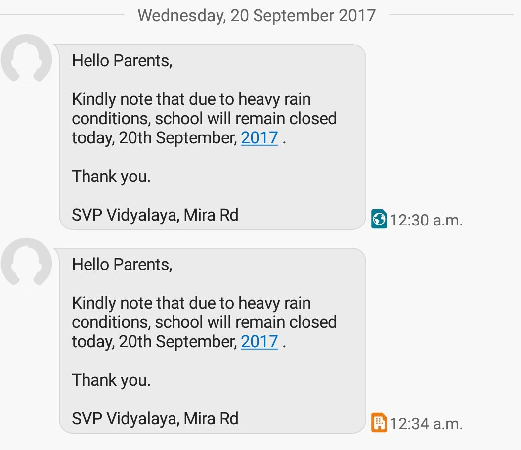 Received Mid-night message from #SVP School. School remains closed..#MumbaiRains<br>http://pic.twitter.com/ve0WoBqWZA