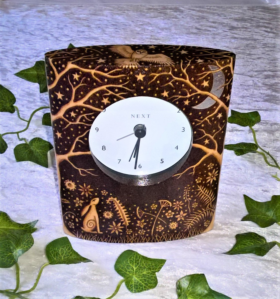 Latest burnt offering. #Pyrography clock with owl and hare #handmade #art<br>http://pic.twitter.com/pEXYZL6c2J