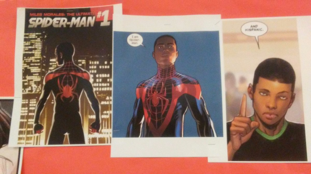 Miles Morales made an appearance with throwback comics of Peter Parker to encourage studying #RepresentationMatters in Class Bulletin Board <br>http://pic.twitter.com/7gKvIIGjmc