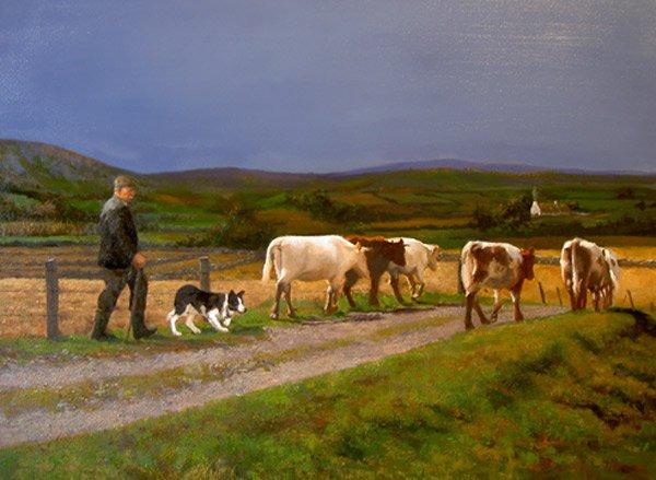 Bringing Cows Home -  oil on canvas, Irish Art of Martin Driscoll - #Ireland #FarmLife #ruralmatters #irishart #cows<br>http://pic.twitter.com/YceGEvXFiO
