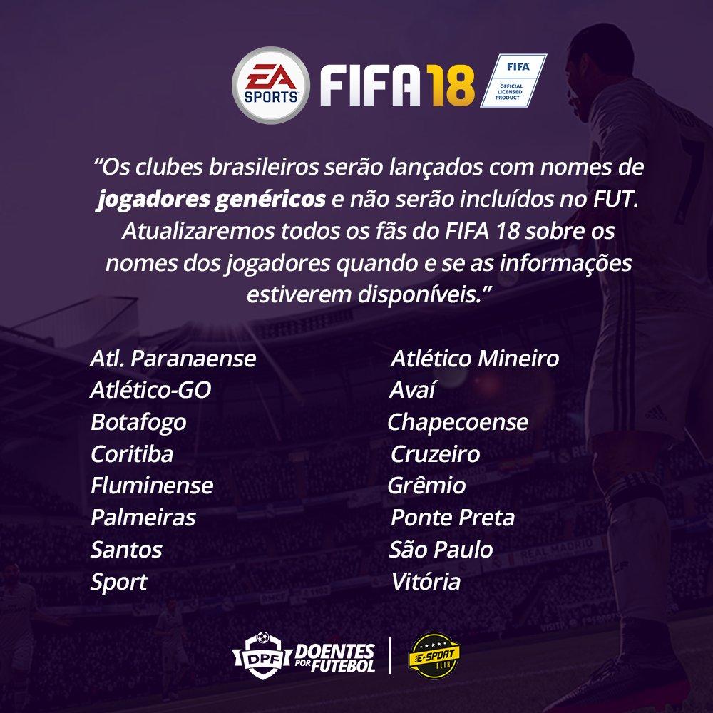 FIFA 18 continuará sem os nomes oficiais dos jogadores brasileiros na Liga do Brasil. Provavelmente a burocracia continua por aqui.