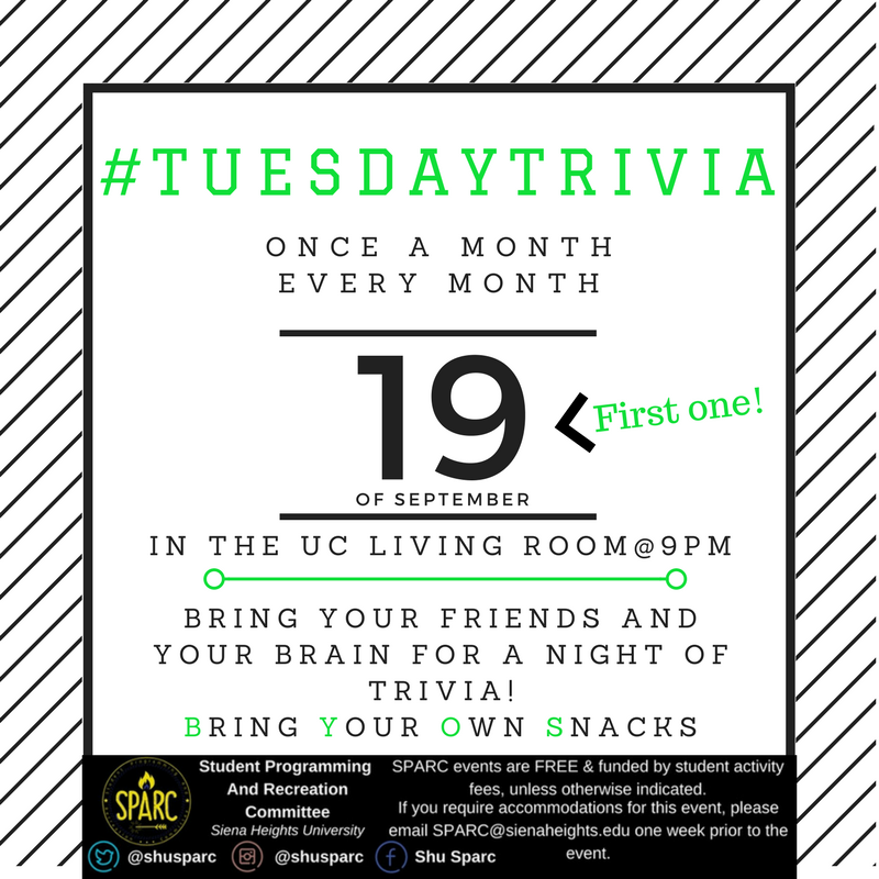 Bring your your friends &amp; your brain TONIGHT at 9PM in the UC Living Room for #TuesdayTrivia !! <br>http://pic.twitter.com/hMEce9ZiWh