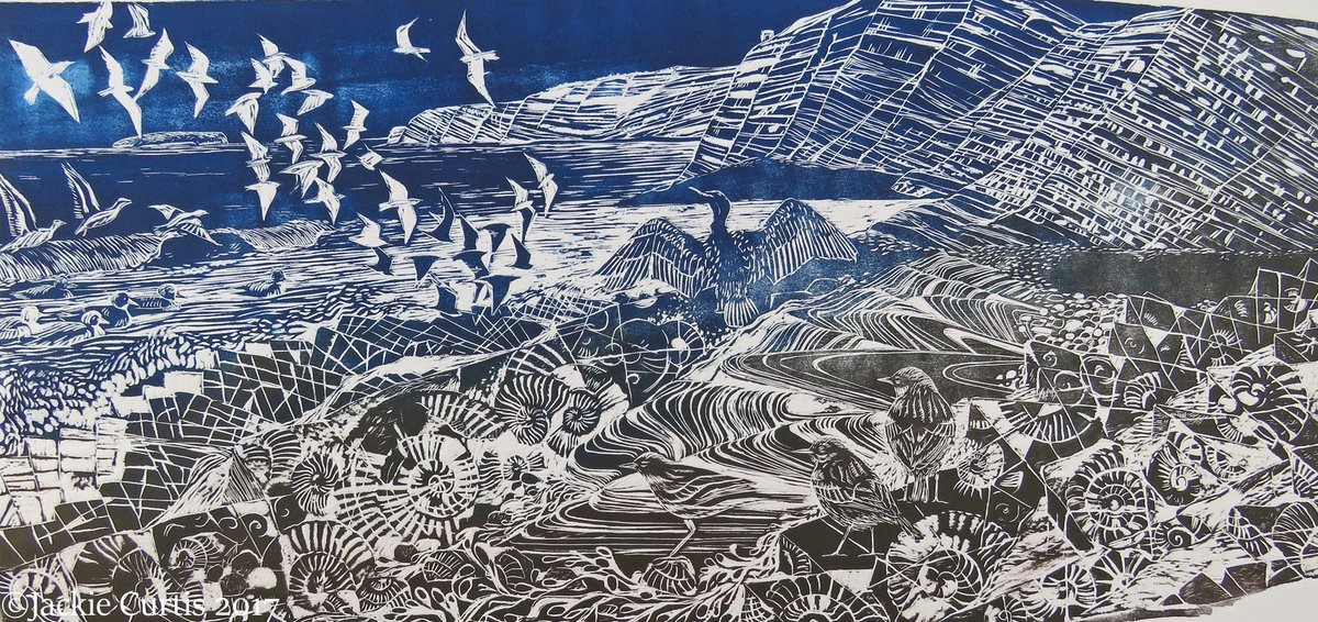 Kilve #woodblock  Back on the studio wall ready for Somerset Art Weeks @SAW_Somerset<br>http://pic.twitter.com/cInoqB9OWR