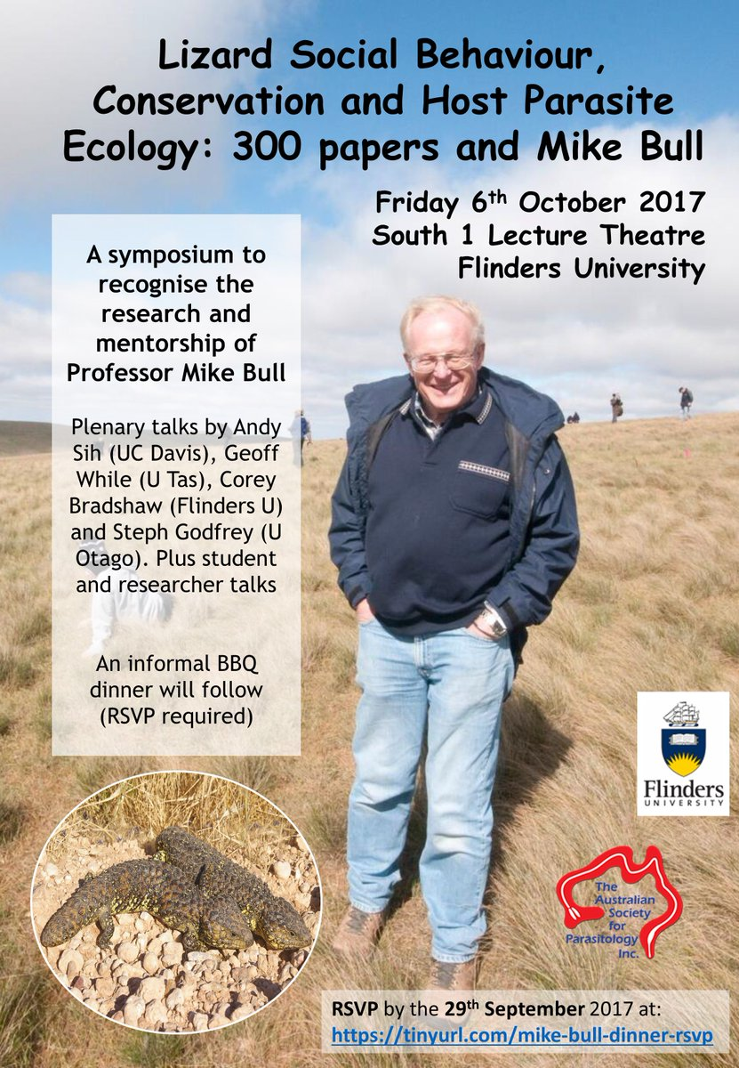 Join us @Flinders on the 6th October for a some great talks honoring Mike Bull&#39;s research &amp; mentorship! #behaviour #conservation #parasites<br>http://pic.twitter.com/CXa0I9qNeW