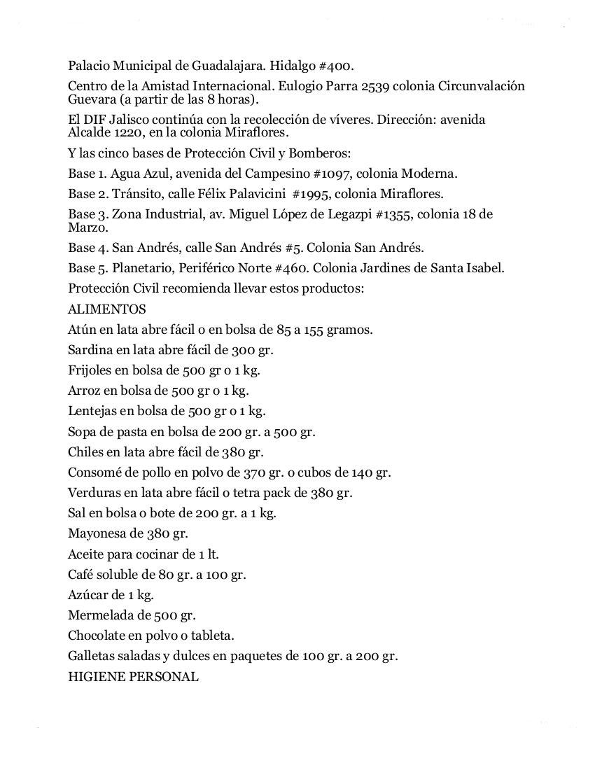 Centros de acopio en Guadalajara y lo que necesitan. https://t.co/o0LjLlV3MM