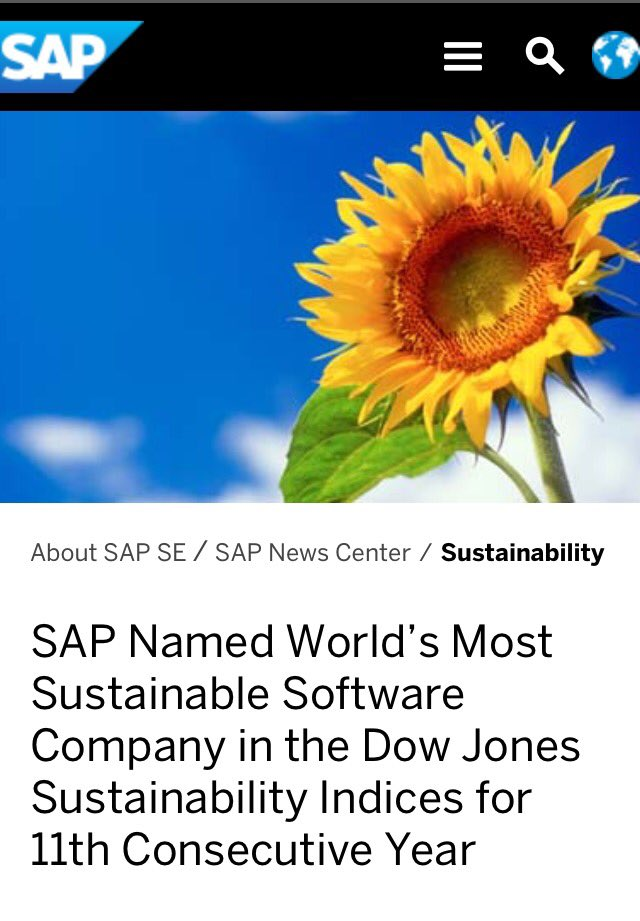 Great News!! #SAP Named World's Most Sustainable Software Company in #DowJones Sustainability Index for 11th Year  http:// spr.ly/60178Fzol  &nbsp;  <br>http://pic.twitter.com/VgXpJWTF4A