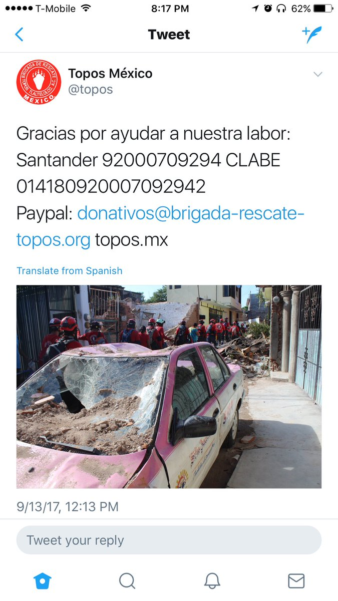 Mexico City needs your help! Please donate to the search & rescue crew @topos via PayPal https://t.co/aCn7nc0YW1 https://t.co/HLHaSlF2YN