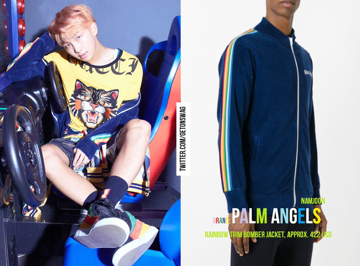 NAMJOON  #BTS 170908 Her concept photo #RAPMONSTER #RM  #방탄소년단 PALM ANGELS - rainbow trim bomber jacket<br>http://pic.twitter.com/ZzwMF345GF