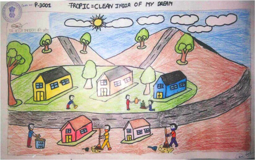 Monmaya Sonar from West Kameng, Arunachal Pradesh won a prize for this artwork, in which she has illustrated a Swachh Bharat. @swachhbharat