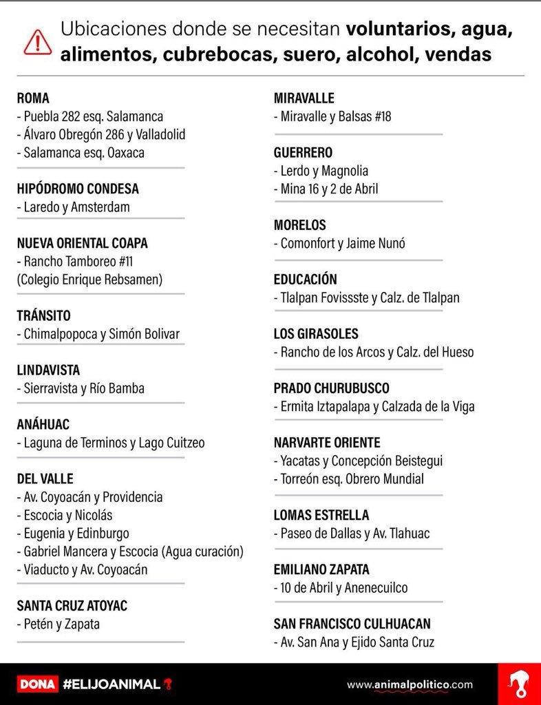 Amigos, aún se necesitan pilas gruesas, lámparas y agua en ubicaciones de Álvaro Obregón y Tránsito. https://t.co/HNvTX9rkKA
