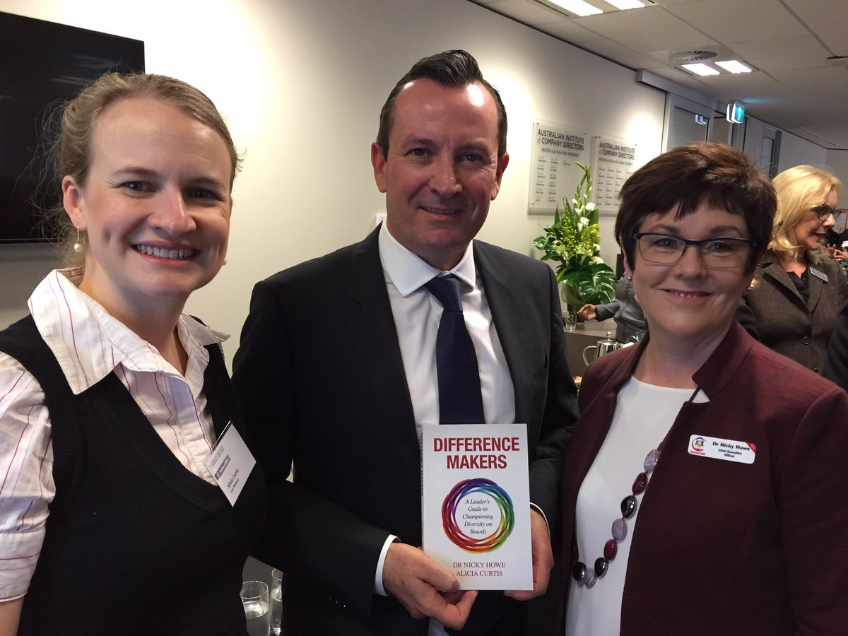 Great to share the Difference Makers book w @MarkMcGowanMP at the launch of OnBoardWA #diversity #nfpau #corpgov #womeninleadership @Howe2H<br>http://pic.twitter.com/itR88UdWbk