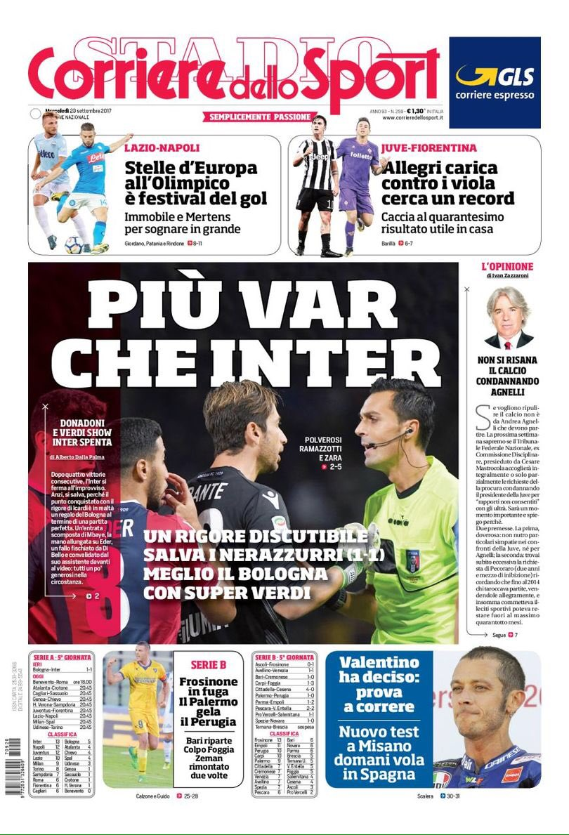 Front pages of #CdS &amp; #TS on #JuveFiorentina  -&gt; [Mr.] #Allegri fired up in search of the 40th +ve result at , a record  #Juve #ACF<br>http://pic.twitter.com/LYDj3xzrgQ
