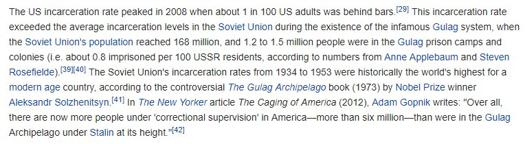 The United States currently has a higher percentage of its population in prison than even Joseph Stalin sent to the Soviet Union's gulags