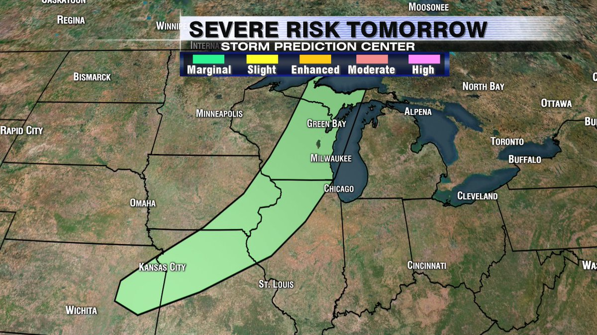 There is a Marginal Risk for severe t-storms on Wednesday evening in SE WI. Large hail and strong winds possible.