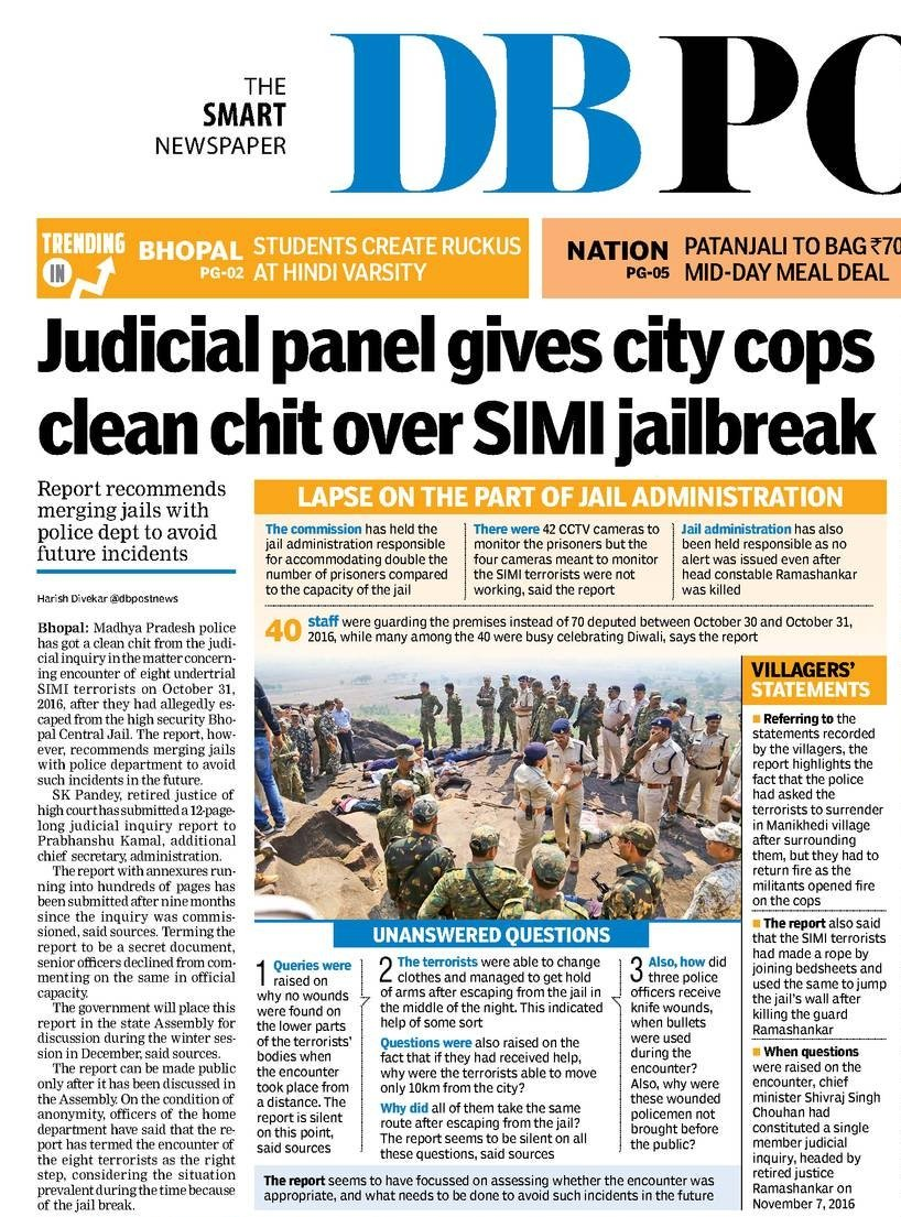 Judicial panel&#39;s clean chit to #MadhyaPradesh police in encounter of 8 #SIMI terror undertrials after #Bhopal #JailBreak  Via- @dbpostnews<br>http://pic.twitter.com/4K6bHw4DgS