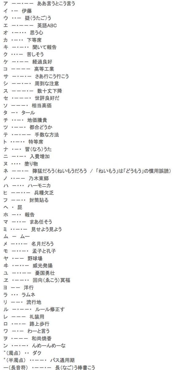 日本 語 信号 モールス