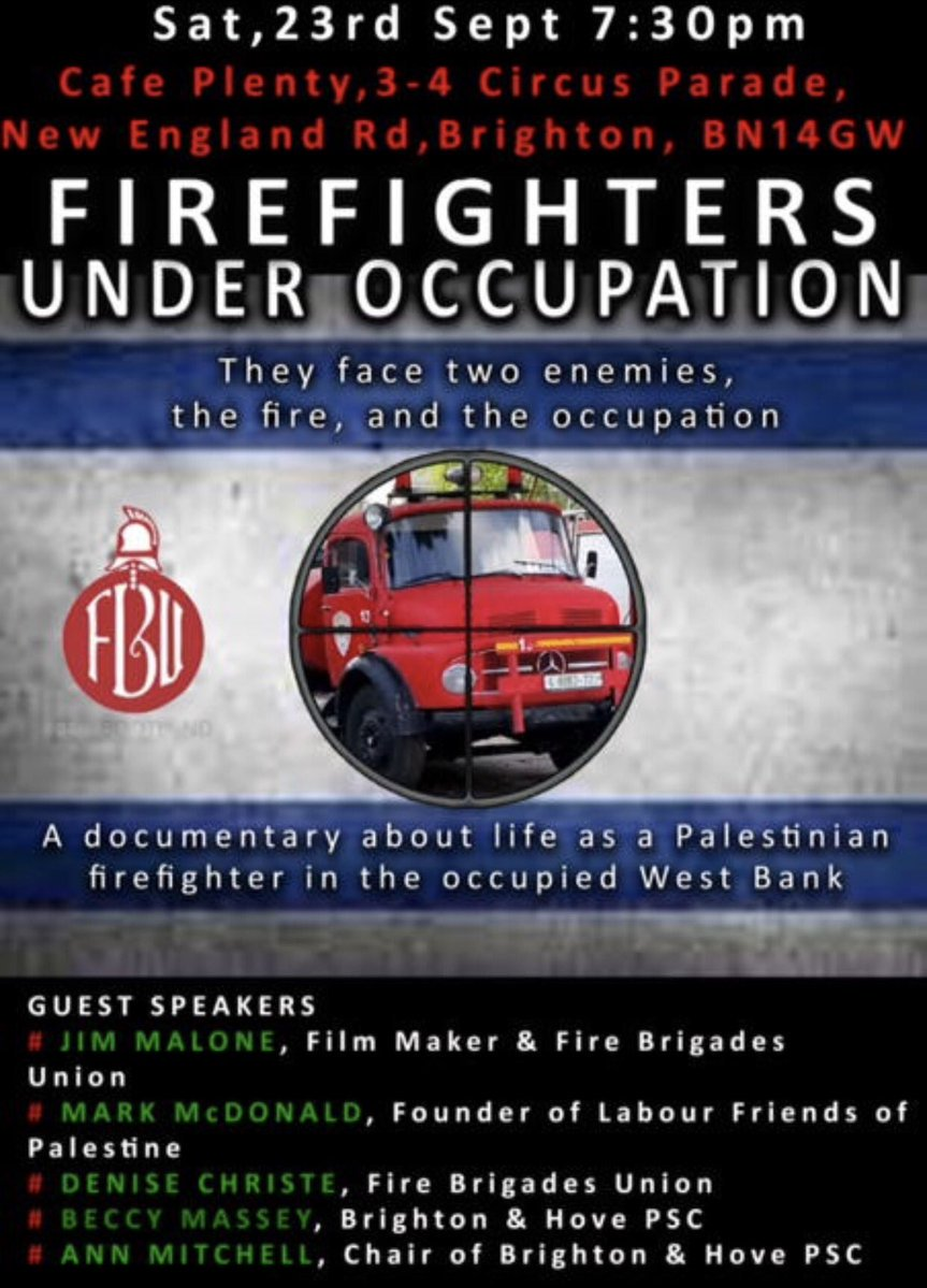 We&#39;re very pleased to support #Brighton screening of award-winning documentary &quot;Firefighters Under Occupation&quot; by @CiaranGibbons1 this Sat<br>http://pic.twitter.com/YoTI70KO9x