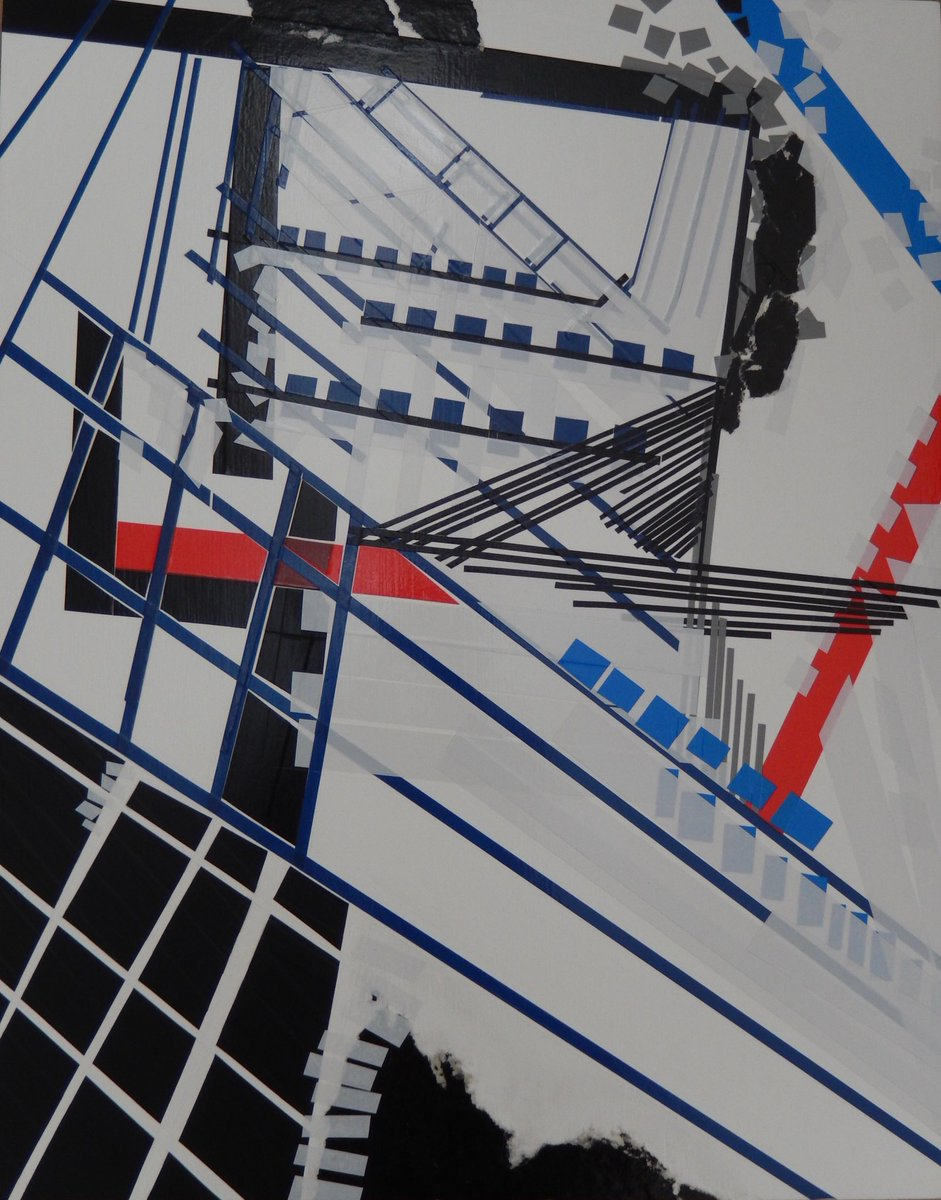 D938 &quot;falling in #No1LondonBridge&quot; #collage #electricaltape &amp; #paper on board 48x38cm for #theotherartfair 5-8Oct #industrialcolour<br>http://pic.twitter.com/cMw4PljY8K