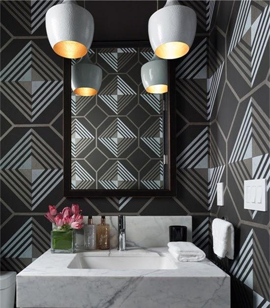 The marble's veins, streamlined mirror and contemporary pendants update the overall.#interiordesign #homedecor #bathroomdesign #designtrends<br>http://pic.twitter.com/ccZPprtROz
