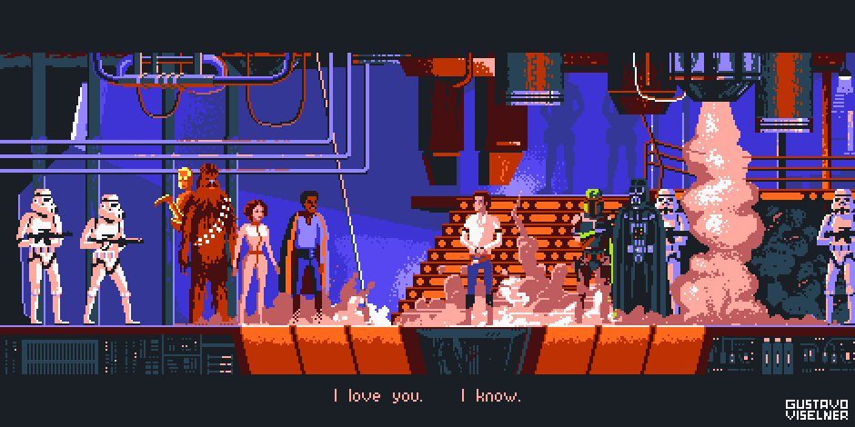 The Empire Strikes Back, 14 colors. #pixelart #StarWars <br>http://pic.twitter.com/QvbqaoI8MM