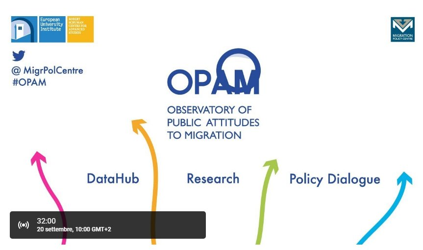 The launch event of the Observatory of Public Attitudes to #Migration (#OPAM) will start at 10. Stay tuned  https://www. youtube.com/watch?v=VG0yxI knKTk &nbsp; …  #EUIinBxl<br>http://pic.twitter.com/iSU3GG78cv
