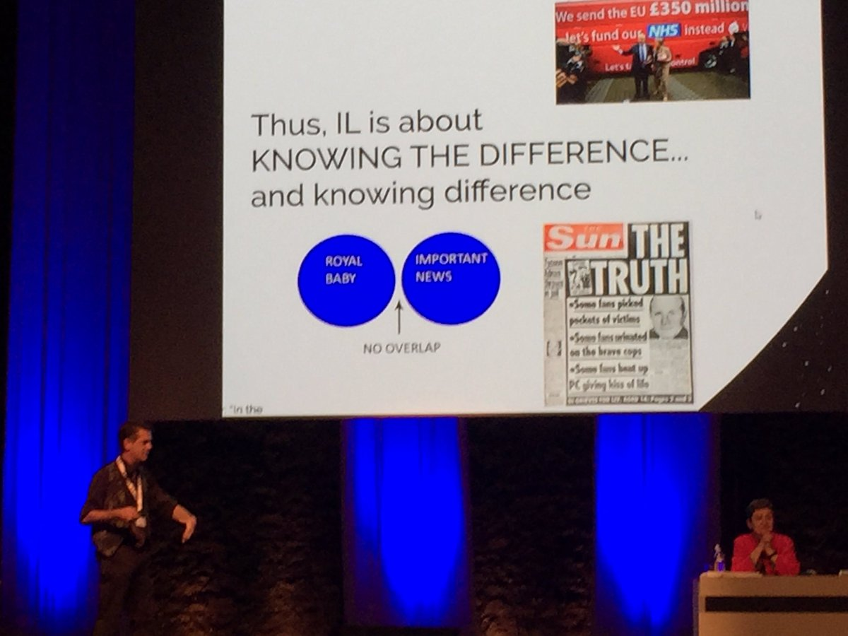 #Informationliteracy is about knowing the difference. Keynote speaker Andrew Withworth @ #ecil2017<br>http://pic.twitter.com/c3Vq3QC7F8