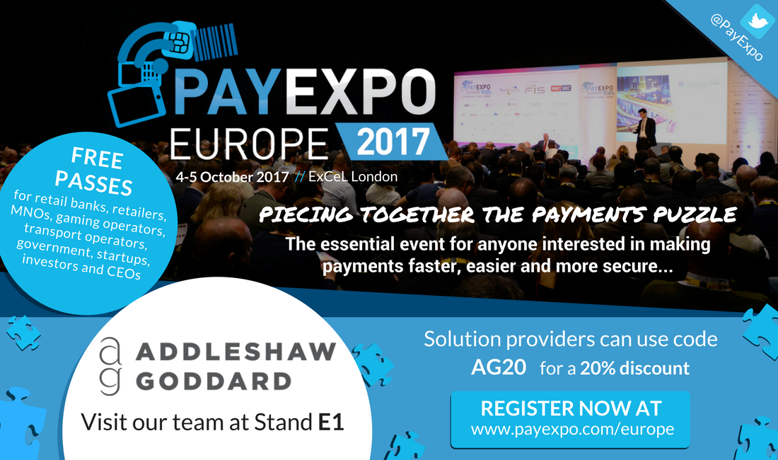 #PayExpoEurope is only 2 weeks away! Come and visit us at Stand E1 #AGElevate #FinTech #payments  http:// bit.ly/2wxJEpH  &nbsp;  <br>http://pic.twitter.com/GhoyIQdvuU