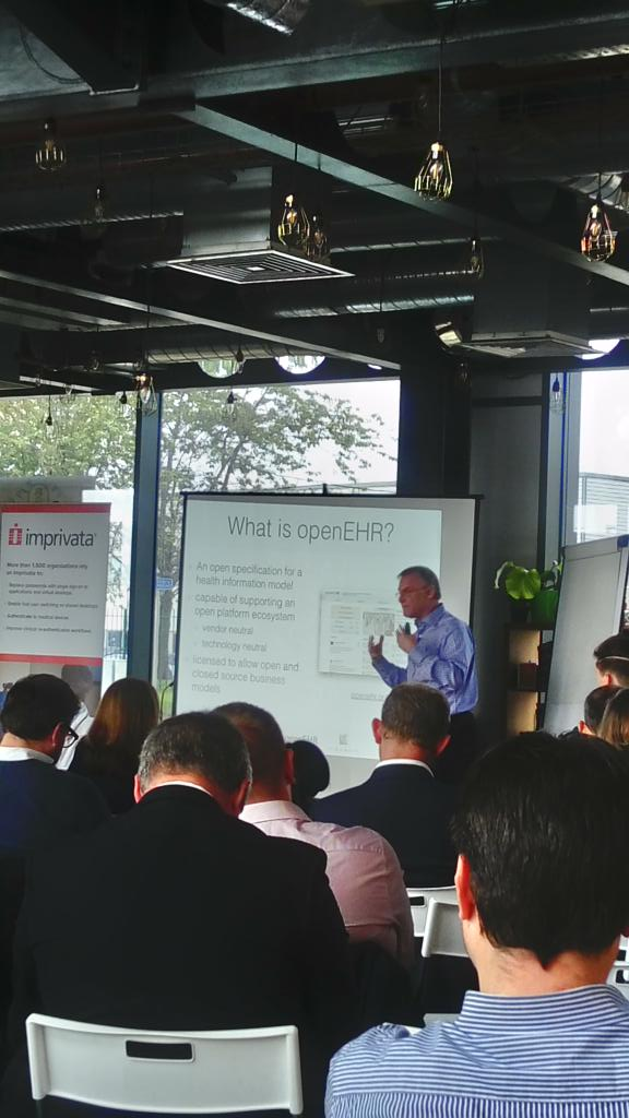 @ianmcnicoll speaking about #openEHR  #archetypes #modelling @SalfordCCG NHS and @openehr event<br>http://pic.twitter.com/NHYOWSsKfW