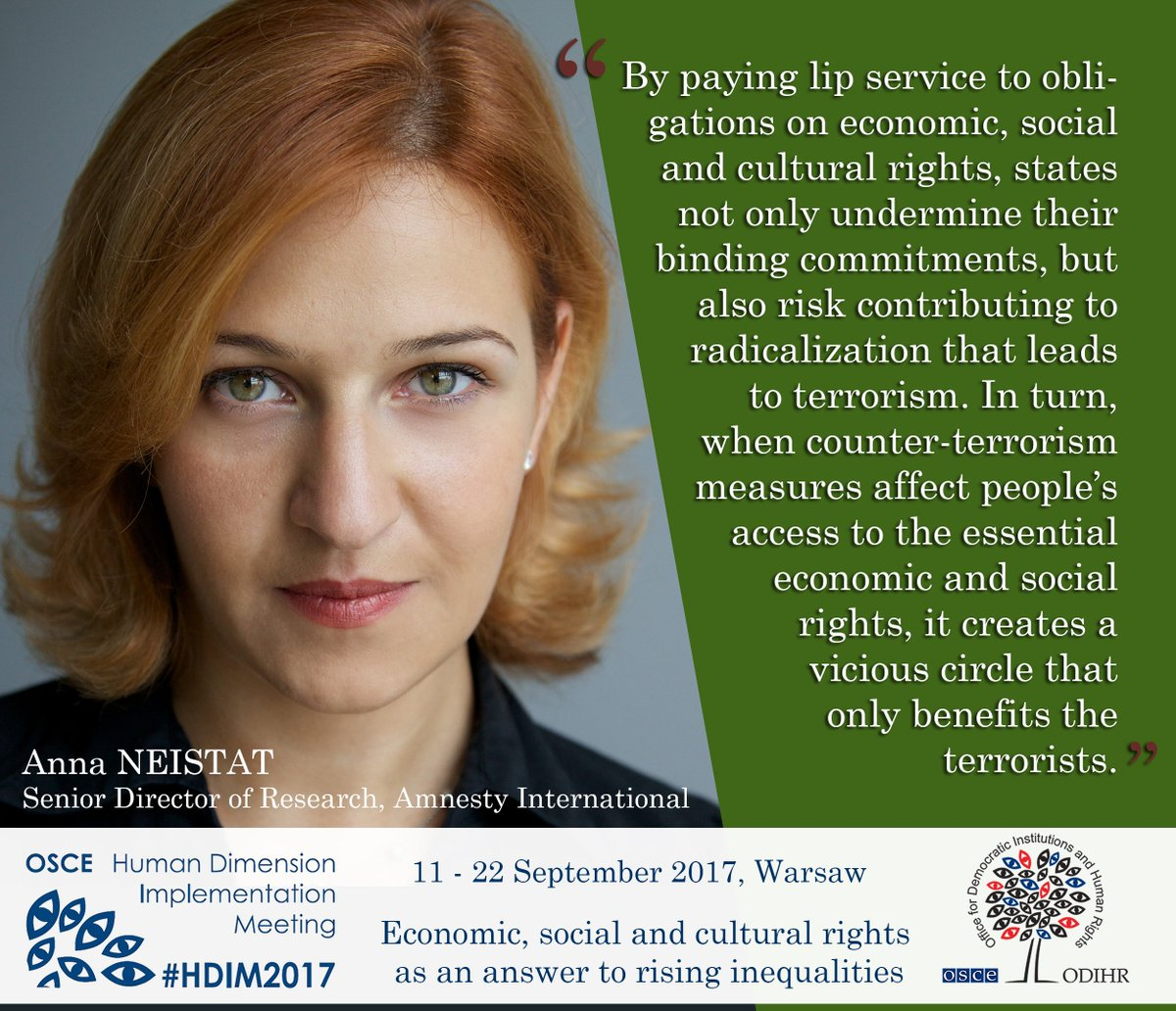 How do counter-#terrorism measures impact economic, social and cultural rights? Watch our #hdim2017 discussion here:  http:// bit.ly/2y0akOO  &nbsp;  <br>http://pic.twitter.com/r7tXB4nLmL