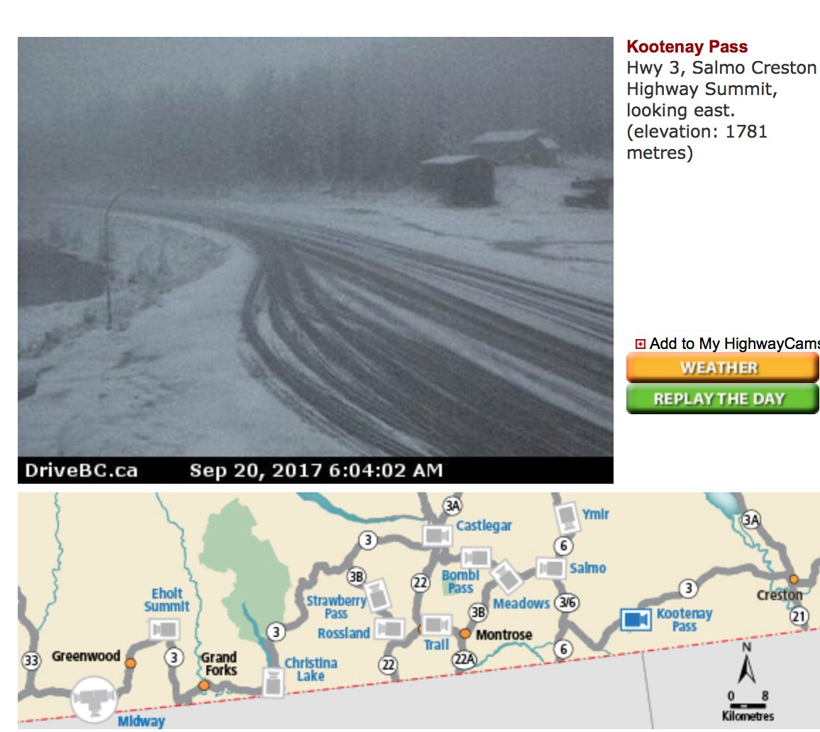 Evidence of the snow! A good reminder that as of Oct 1st winter tires are mandatory on many routes in #BC.@weathernetwork Photo VIA @DriveBC<br>http://pic.twitter.com/n4Y9y5Q8Mx