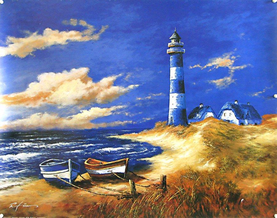 постер море с маяком центре великоустюгских