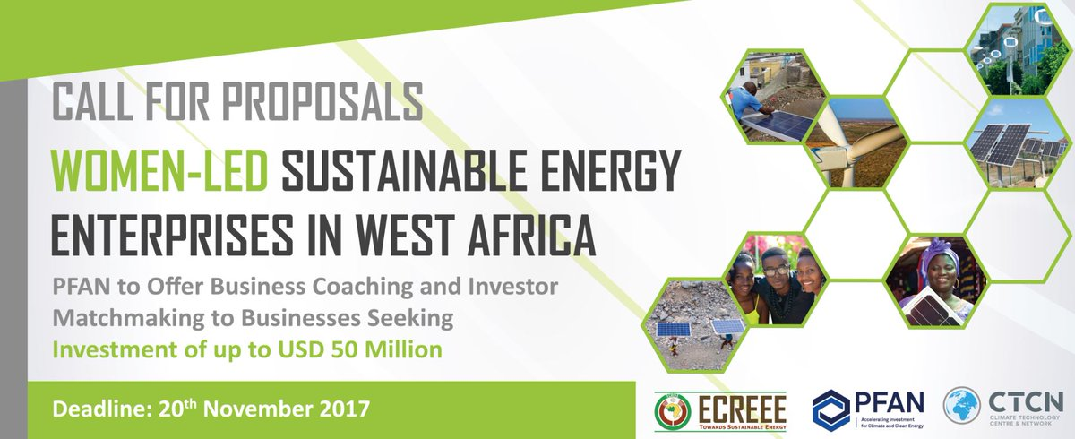 PFAN, @ECREEE_ECOWAS and @UNFCCC_CTCN Call for Proposals Women-led #SustainableEnergy Enterprises.  http:// ww.ecreee.org/news/pfan-ecre ee-and-ctcn-launch-call-proposals-women-led-sustainable-energy-enterprises-west-africa &nbsp; … <br>http://pic.twitter.com/DYrBEh42nj