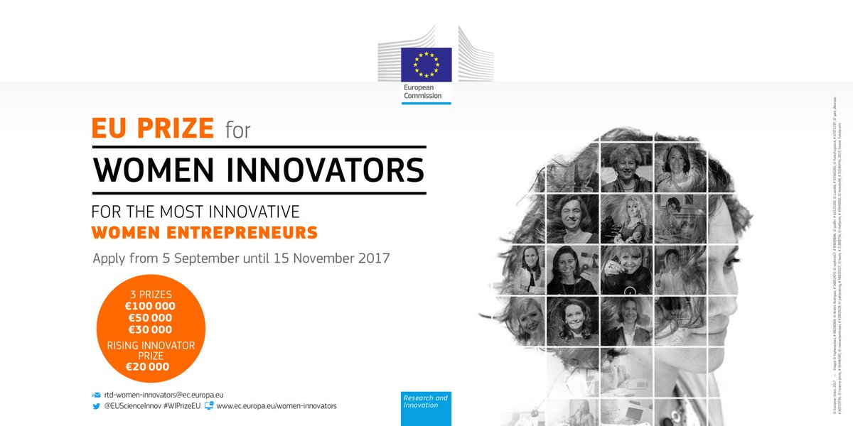 Women innovators, #WIPrizeEU wants to support your excellence! Apply by 17 November &gt;&gt;  http:// ec.europa.eu/research/prize s/women-innovators/index.cfm?pg=home &nbsp; …  #Horizon2020 <br>http://pic.twitter.com/eXUYQcXxmC