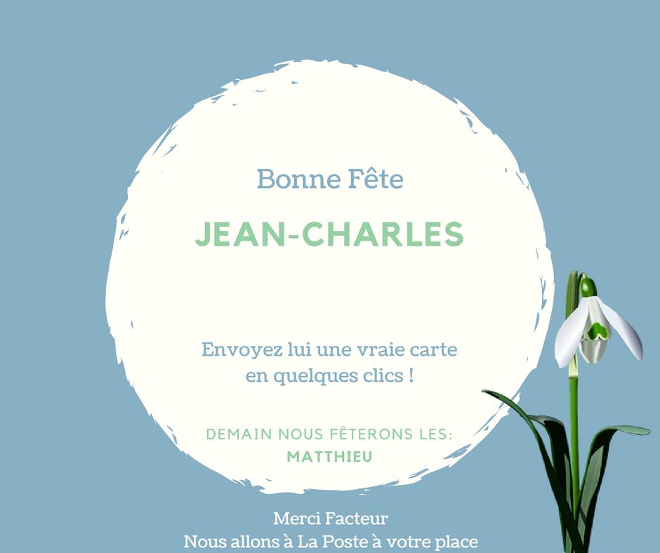 Carte Bonne Fete Charles.Merci Facteur On Twitter Bonne Fete Jean Charles Envoyez