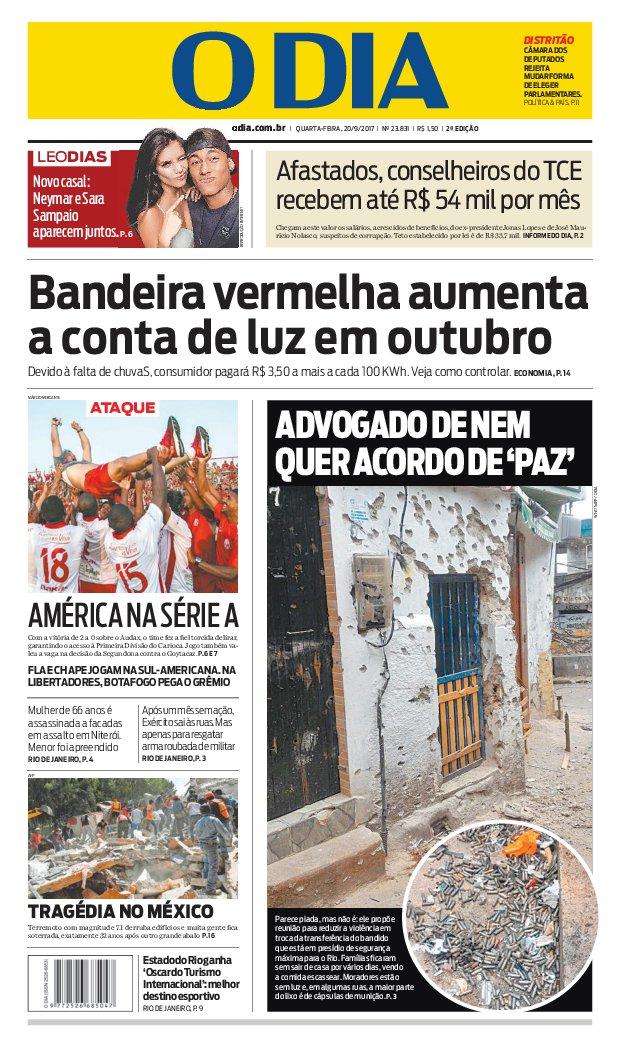 Bom dia, leitores do @jornalodia. Eis a capa de hoje 20/09/2017. #capaODIA. Saiba tudo em https://t.co/FQEIhBBx7Z