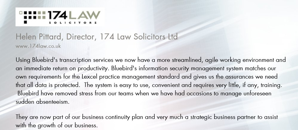 Don&#39;t just take our word for it, see what our customers say about us   https://www. bluebird.services/testimonials  &nbsp;   . #legal #PA #Transcription<br>http://pic.twitter.com/gpnlenyys5